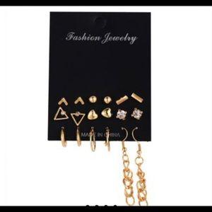 Gold Geometric Earring Set (9 pairs)